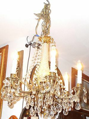 Spectacular Antique  Brass 6 Embossed Arm Chandelier 6