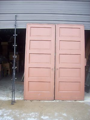 Painted raised panel pocket door set with tracking  (D JER3) 2
