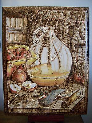 Original Drawing-Pyrography/woodburning-Fall/autumn Apples Country Still Life 2