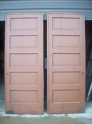 Painted raised panel pocket door set with tracking  (D JER3) 5