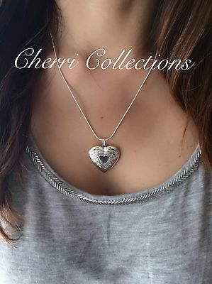 """925 Sterling Silver Heart Necklace, Locket Photo Picture Pendant 18""""  N1 2"""