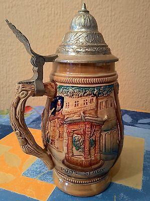 Antigua Jarra De Cerveza Alemana Con Dibujos En Relieve Y Con Tapa De Zinc 6