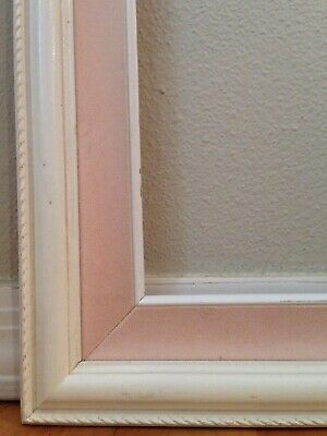"Vintage Wooden Picture Frame Ornate Corners Shabby Chic 25.5"" x 21.5"" Pink White 5"