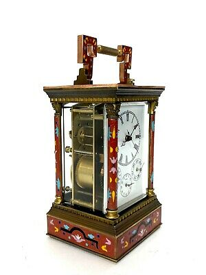 French Style Floral Red Enamel Brass 8 Day Repeater Calendar Carriage Clock 4