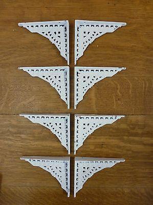 "8 SMALL WHITE ANTIQUE-STYLE 5"" CAST IRON SHELF BRACKETS garden rustic EASTLAKE 2"