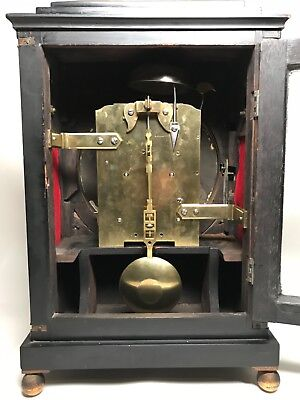 Early 19th Century Ebony or Ebonized  Regency Fusee Bracket Clock with Bracket. 11