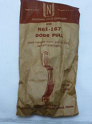 1950's Retro National Lock N61-167 CHROME Cabinet Door Pull Red Stripe NIP NOS 2