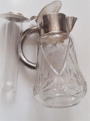 VTG W. Germany Cocktail Cut Glass Claret Jug/ Cooler Inside Silver plated Collar 10