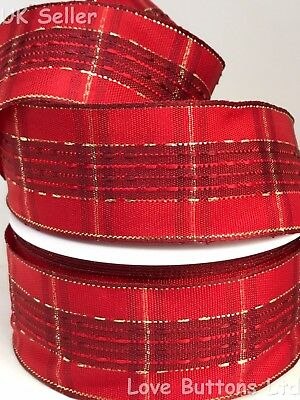 40mm WIDE GOLD GLITTER STARBURST WIRED SHEER CHRISTMAS RIBBON  1M CUT LENGTHS