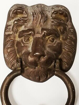 Old Vintage Architectural Solid Lion Head Bronze/ Brass Door Knocker 1lb 11oz 4