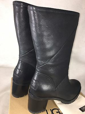 e8192b55d8f UGG AUSTRALIA JESSIA Lug Sole Stacked Heel Boots 1013901 Black water  resistant