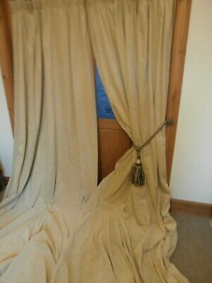 Extra Long Cream Bespoke Velvet Curtains 123 Drop 180 Wide Cleaned Pair One 189 99 Picclick Uk