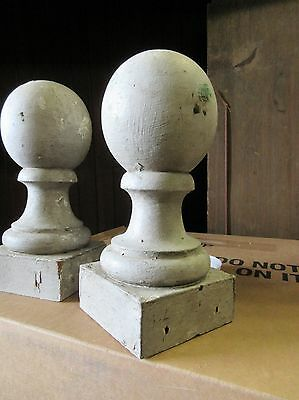 "PAIR VICTORIAN era cannon ball wooden fence post cap FINIALS ~ 10""h x 5.75 dia"
