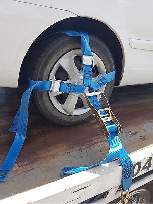 4 x Car Carrying Ratchet Tiedown Trailer  Car Wheel Harness Tow truck Restraint 3
