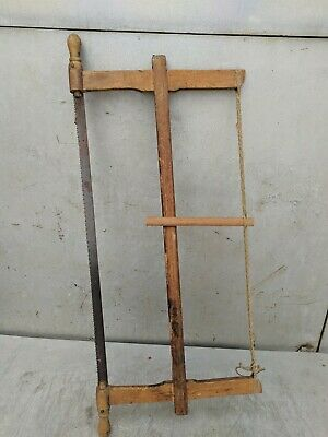 Painted Wood Saw Bow Carpenters Hand Rustic Tool Antique Primitive 3