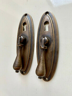 "2 oval drop Pull knob pulls handles 4"" brass door key hole vintage old style B 2"