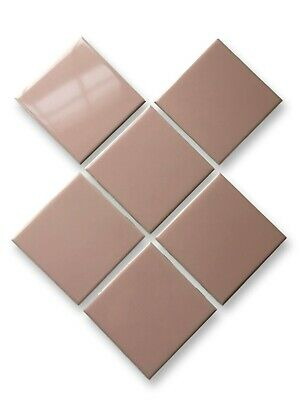 6 Vintage Mid Century LIGHT PINK Tiles New Old Stock H&R Johnson 1960's ENGLAND 2