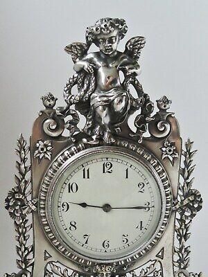 "12"" Silver Brass Statue Strutt Clock. Fine quality fully restored antique. c1900 5"
