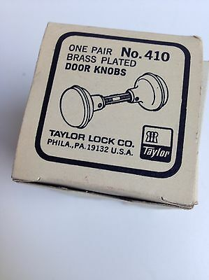 Vintage TAYLOR Brass Plated Door Knob NEW OLD STOCK Orig. Box 8