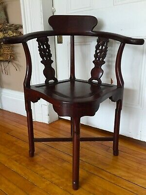 Antique Chinese Rosewood Hand Made Corner Chair 4
