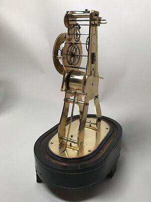 Pretty Miniature Scissor Frame Skeleton Clock With Alarm & Glass Dome Circa 1860 8