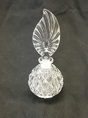 Vintage Crystal Clear Heavy Glass Feather Shape Perfume Bottle Vanity Decanter 8