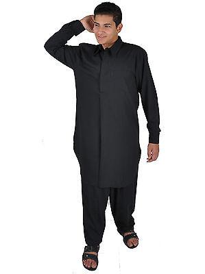 Due pezzi Salwar Kameez insieme Pantaloni Tunica in Stile pakistano nero 2