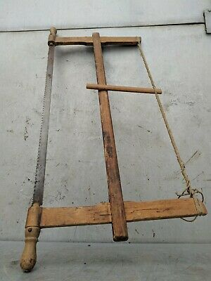 Painted Wood Saw Bow Carpenters Hand Rustic Tool Antique Primitive 2