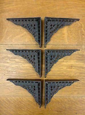 "6 SMALL BROWN ANTIQUE-STYLE 5"" CAST IRON SHELF BRACKETS garden rustic EASTLAKE 3"