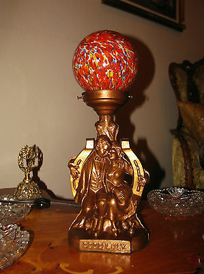 Vtg Art Deco Metal Sexy Couple Glass Glass Shade chandelier Fixture Table lamp 2