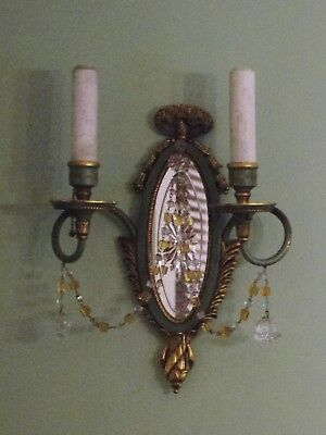 Pair E.F. Caldwell Painted Bronze, Mirror & Crystal Sconces. OFFERS WELCOME. 5