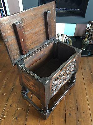 Antique Oak Joynt Stool / Bible Box 8