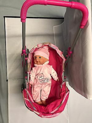 Pink Stroller With Pink Doll Toy 3