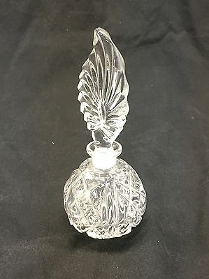 Vintage Crystal Clear Heavy Glass Feather Shape Perfume Bottle Vanity Decanter 3