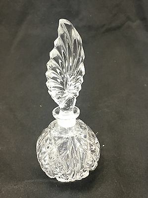 Vintage Crystal Clear Heavy Glass Feather Shape Perfume Bottle Vanity Decanter 2