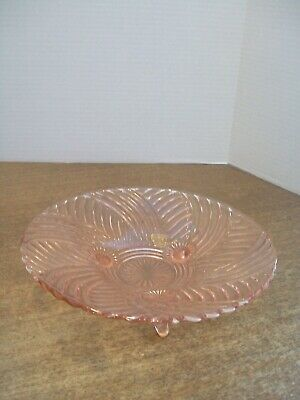 Vintage Pink Glass Footed Serving Dish Plate 5