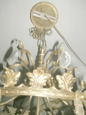 Reduced!! Fabulous Embossed Brass&Crystal  Chandelier Nashville Architect. Salv. 6