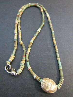 NILE  Ancient Egyptian Scarab Amulet Mummy Bead Necklace ca 600 BC 3