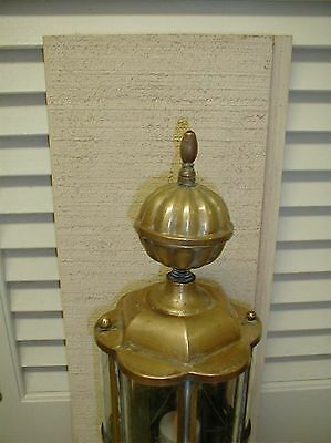 Antique Brass Etched Curved Glass Sconce Wall Porch Entry Patina 3