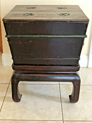 Antique Chinese Ice Chest Qing Period Box +Stand Bats Original Lacquer Shanxi 4