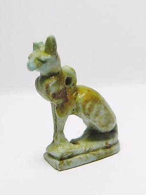 Zurqieh -Q216- Ancient Egypt , Nice Faience Cat Amulet .  600 - 300 B.c 2
