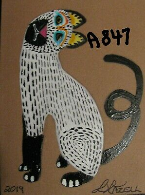 "A867        ORIGINAL ACRYLIC ACEO PAINTING BY LJH   ""DANIEL""  Cat Kitten 11"