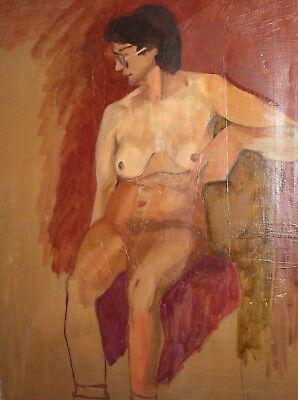 Vintage European large oil painting nude 8