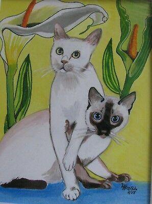 """A654     0Riginal Acrylic Aceo Painting By Ljh """"Oriental Shorthair"""" Cat Kitten 11"""