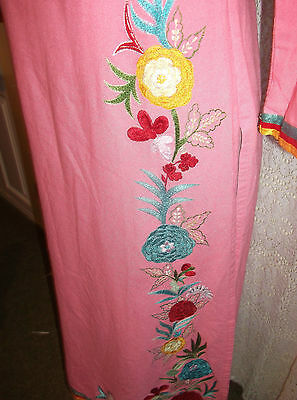 Pink Vintage Indian Tunic top.calf length,side splits, embroidered ruffle detail 8