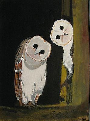 "C131         Original Acrylic Painting By Ljh         ""Scaredy Cat"" 9"