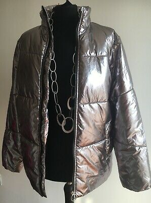Stunning Silver Girls Lightweight Padded Jacket Very Good Condition Age 14 - 15 3