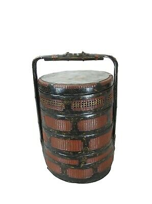 Bamboo Food Basket with Hand Painted Handle 2