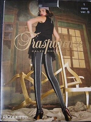 "Trasparenze ""Rigoletto""  Var B Black/Grey/Grey Back Seam Opaque Tights S 2"