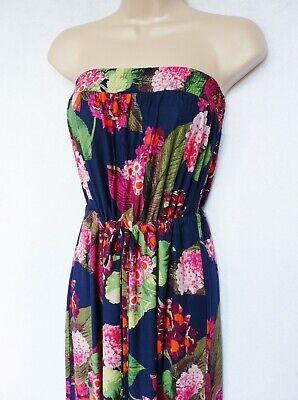 BNWT NEXT new tiered bandeau festival tropical stripe print summer Maxi Dress